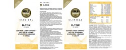 Etiqueta original del bote de D Tox GoldNutrition Clinical