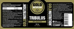 Etiqueta original del bote de Tribulus Goldnutrition 550 mg