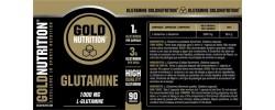 Etiqueta original del bote de Glutamina Goldnutrition 1000mg