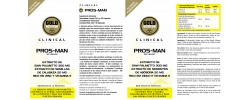 Etiqueta original del bote de Pros Man (Prostata) GoldNutrition Clinical