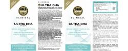 Etiqueta original del bote de Ultra DHA GoldNutrition Clinical