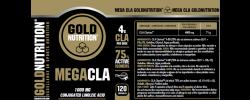 Etiqueta original del bote de Mega CLA Goldnutrition 1000mg