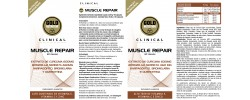 Etiqueta original del bote de Muscle Repair GoldNutrition Clinical