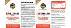 Etiqueta original del bote de Pure Fish Oil GoldNutrition Clinical