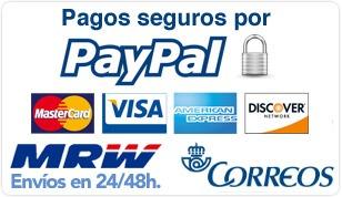 Pagos seguros mediante paypal, y envíos por MRW y correos